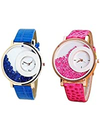 Combo Of 2 Blue & Pink Belt Diamond Watch 10