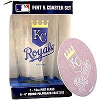 KANSAS CITY ROYALS 16-Ounce Pint Glass & 4 Coasters Gift Set
