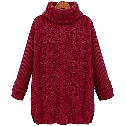 Griffin- presagi oversize Plain Chunky Knit rigonfio Jumper Tops Maglione ( colore : Vino rosso , dimensioni : M )