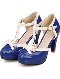 5a531f2120e471 Kaloosh Women s Fashion T-Strap Bowtie Buckle Strap Chunky High Heels  Platform Pumps Party Shoes