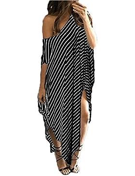 Verano Mujer Casual Flojo Irregular Rayas Vestidos de Playa Moda Slim Cuello Redondo Manga Corta Maxi Vestido