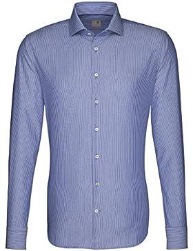 Seidensticker Herren Langarm Hemd Schwarze Rose Slim Fit Hai-Kragen blau / weiß gestreift 241817.17