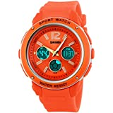 Happy Cherry Reloj de Cuarzo Deportivo Analógico-Digital Dual-time Calendario Luz Alarma Cronómetro Multifunción Waterproof Wrist Watch Naranja