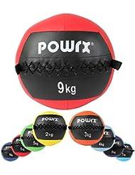 Wall Ball Balón Medicinal 2 - 10 kg - Ideal para los ejercicios de Functional Fitness - (9 kg / Rojo)