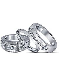 Silvernshine 1.35 Ct Princess Cut Diamond 3 Piece Engagement Ring Trio Set 14k White Gold Fn