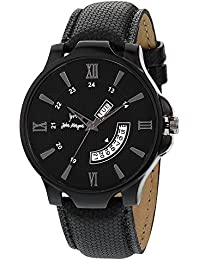 John Morgan Day Date Collection Black Dial Black Leather Strap Watch For Men And Boys