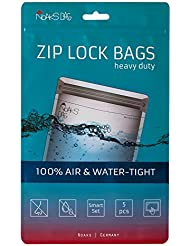 Noaks Bag Smart Set | 5 Bags (1 x XS, 2 x S, 2 x M) | Dry Bag - Protective Cover - ZIP Bag | 100% Waterproof up to 10 m - Odour-Proof - Air Tight - Food Safe | Original