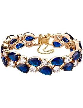 Yourhotstyle Damen-Armband 18 Karat 750 Gelbgold, blaue und weiße Kristalle im Brillantschliff 19 cm