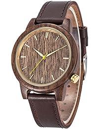 Reloj de Madera Natural, Kwock MIYOTA Japón 2035 Relojes de Pulsera Unisex de Cuero Originales de Madera del Movimiento del Cuarzo Regalo del Día de Fiesta y Del Día de Padre del Cumpleaños
