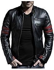 Leather4u KL767 cazadora de piel para hombre, piel de cordero, negro