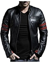 Leather4u Chaqueta de cuero para hombre, piel de vaca, Negro KL767