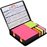 PINZO™ Sticky Note Memo Pad with Arrow Flags in PU Leather Case with 2018 Calendar - Bright Neon Colors