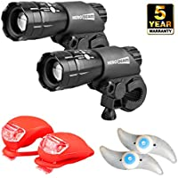 HeroBeam Double Bike Lights Set - The Ultimate Lighting and Safety Pack of Super Bright Front Bicycle Lights, Tail Lights and Wheel Lights - 5 Year Warranty