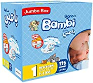 Sanita Bambi, Size 1, Newborn, 2-4 kg, Jumbo Box, 136 Diapers