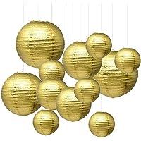 """IMMEK 6"""" 8"""" 10"""" 12"""" Papier Lampions Lampenschirm Laterne Hochtzeit Party Dekoration Ballform (12 Stück) (Gold)"""