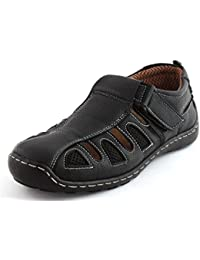Albertiano Men's Leather Sandals And Floaters (Black Color)