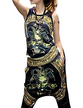 ELLAZHU Women Slim Hippie Personality Black Wolf Printing Tank Top Onesize GK70