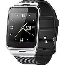 Digimate GV18 - Smartwatch (pantalla de 1, pulgadas, altavoz, acero inoxidable y plástico, compatible con smartphones Android, conexión mediante Bluetooth y NFC, también compatible con iOS y Windows Phone, memoria ampliable hasta 32 GB)