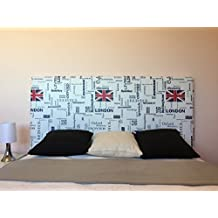 SUENOSZZZ- Cabecero Tapizado Polipiel LONDON. (Camas 90 Cms) Medida: 100/57 Cms. Color Blanco/Azul/Rojo