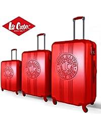 Lee Cooper Set de 3 maletas rígida ABS 4 ruedas 49 – 59 – 69 cm Patch rojo