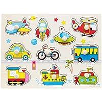 BOBORA Puzzles Infantiles de Madera Juegos Juguetes Educativos de Aprendizaje Juguete Rompecabezas de Madera para Niños Pequeños de 1 Año (Transporte)