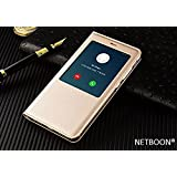NETBOON Branded Xiaomi Mi Note 4 Window Cut Leather Flip Cover Case with Call Answering/Refusing - (Gold)