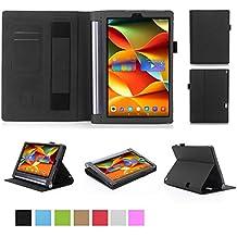 ISIN Funda para Tablet Serie Funda de Premium PU con Stand Función para Lenovo Yoga Tab 3 Plus y Lenovo Yoga Tab 3 Pro de 10,1 pulgadas Tablet con Velcro Correa para la Mano y Ranuras para Tarjetas (Negro)