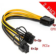 CPU 8pin to Graphics Video Card Double PCI-E 8Pin(6Pin+2Pin)Power Supply Cable, Splitter PCI Express Graphics Card Connector PC Power Cable Wire CPU Molex for Graphics Card BTC Miner (2 Pack)