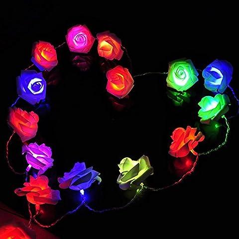 higift 2m 20LED funciona con pilas luces novedad Rose Flor boda jardín fiesta Navidad vacaciones decoración luz nocturna
