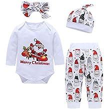 Proumy - Ropa para bebé, recién Nacido, bebé, niño, niña, Manga Larga, Traje de Juego, Top de Papá Noel, Estampado, pantalón + Gorra Suave, Cinta para el Pelo