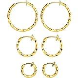 Mannli 3 Paar gedrehte Kreolen, Ohrringe, Ohrringe, Ohrringe, Ohrringe, Ohrringe, Set für Frauen und Mädchen, goldfarben, 15-