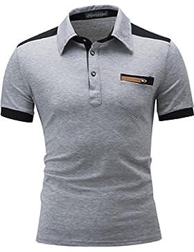 [Patrocinado]Jeansian Hombres Slim Fit Verano Outdoor Casual Manga Corta Polo T-Shirt Camiseta Tops D800