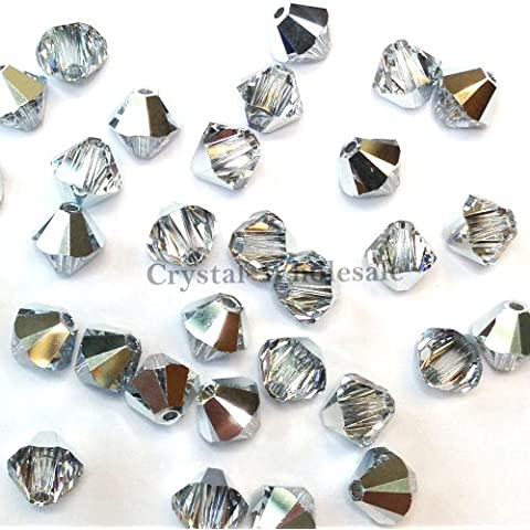 CRYSTAL COMET ARGENT LIGHT (001 CAL) silver Swarovski crystal 5301 / 5328 4mm Loose Bicone Beads 144 pcs (1 gross) *FREE Shipping from Mychobos (Crystal-Wholesale)*