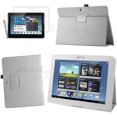 AM Funda de funda de piel sintética para Samsung Galaxy Tab 210.1, P5100, P5110, P5113con lápiz capacitivo y protector de pantalla