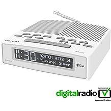 Azatom Horizon FM Radio Reloj Despertador Digital DAB Horizon de AZATOM – Bluetooth – A pilas – Carga rápida USB – Alimentado por red - Blanco