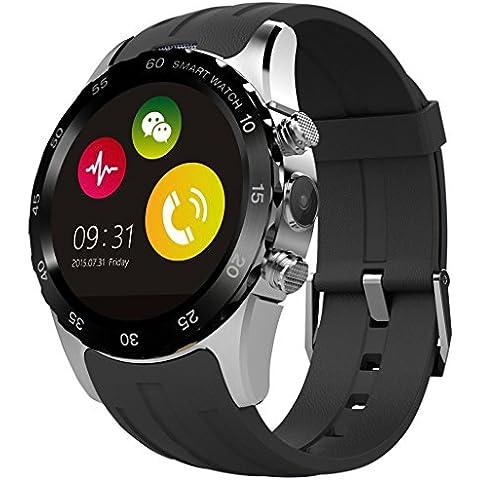 Reloj del deporte KW08 SmartWatch 350mAh de batería con Health Tracker + podómetro + Control de Frecuencia Cardíaca para iOS iPhone Android Samsung Smartphone