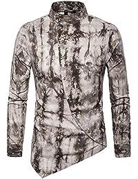 Versaces Hombres Camisa Ocio Irregular Botón Oblicuo Imprimir Manga Larga  Camisa 2114c0557409c