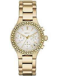 DKNY  - Reloj de cuarzo para mujer, correa de acero inoxidable chapado color dorado