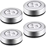 A&T Battery Powered Round White 3 Leds Stick Tap Touch Lamp Night Light (Set Of 4)