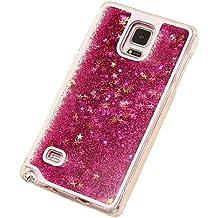 Caja de arenas movedizas de telefono celular - SODIAL(R)Caja lujosa transparente de arenas movedizas liquidas y de estrella brillante para Samsung Galaxy Note 4 rojo de rosa