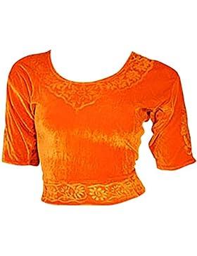 Naranja Terciopelo Top Blusa Choli para Bollywood Sari Talla XXL