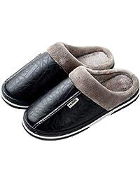Zapatillas de Cuero para Mujer Dulce para Mujer Pisos caseros Anti- Sucio Interior Mujer Zapatos