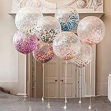 """5pcs 36 """"Globos de confeti Multicolor, globo de látex Jumbo lleno de confeti multicolor para la decoración de la fiesta de cumpleaños de la boda porTIME4DEALS (color al azar)"""