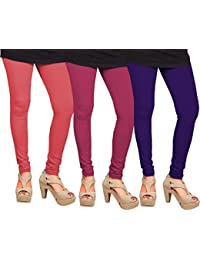 CAY 100% Cotton Combo of Purple, Dark Pink and Pink Color Plain, Stylish & Most Comfortable Leggings For Girls & Women with Full Length (SIZE : Free Size)
