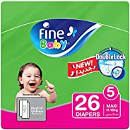 Fine Baby Diapers, DoubleLock Technology , Size 5, Maxi 11–18kg, Economy Pack. 26 diaper count