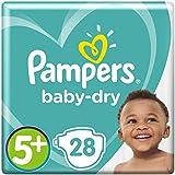 Pampers Baby-Dry Windeln Größe5+ (12-17kg), Luftkanäle für atmungsaktive Trockenheit die ganze Nacht, extra saugfähig, Sparpack, 1er Pack (1 x 28 Stück)
