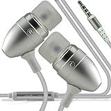 ONX3 ZTE Blade Q de Calidad Premium en auriculares de botón estéreo de manos libres de auriculares Auriculares con micrófono Mic y botón de encendido y apagado (Plata)