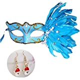 Mollycoocle Fashion Christmas Halloween Festival Costume Party Feather Mask, Masquerade Mask Fancy Feather Party Mask For Balls, Carnivals, Birthday Parties And Dress Parties, Blue