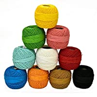 Crochet Cotton pearl Thread Yarn for Knitting and Craft Making (Multicolor, Pack of 10)