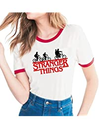 Yuanu Amantes Spring Verano Tamaño Grande Manga Corta Cuello Redondo Camiseta, Suave Cómodo Slim T-Shirt con Cartas/Patrones Temática Impresión Sobre Stranger Things